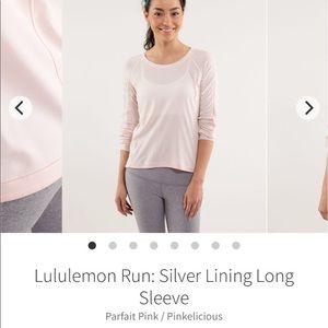 Lululemon pink striped long sleeve key hole back 6
